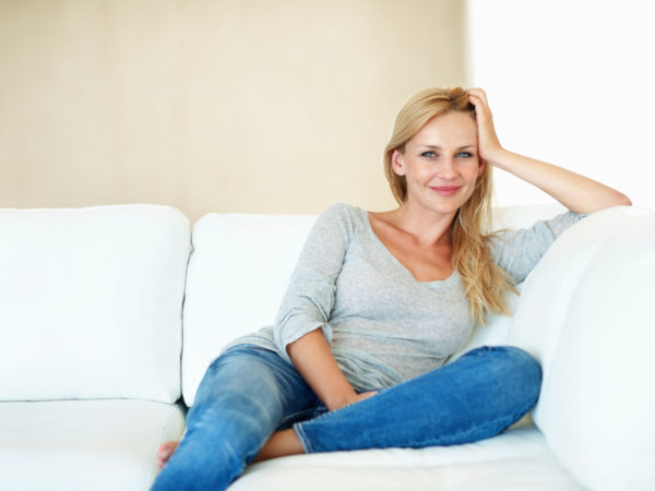 Woman in couch